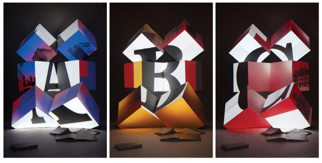 BLOK Alphabet installation, letters A,B,C