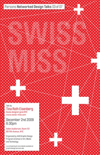 swissmiss event poster designed by Mirna Raduka (AAS Graphic Design student)