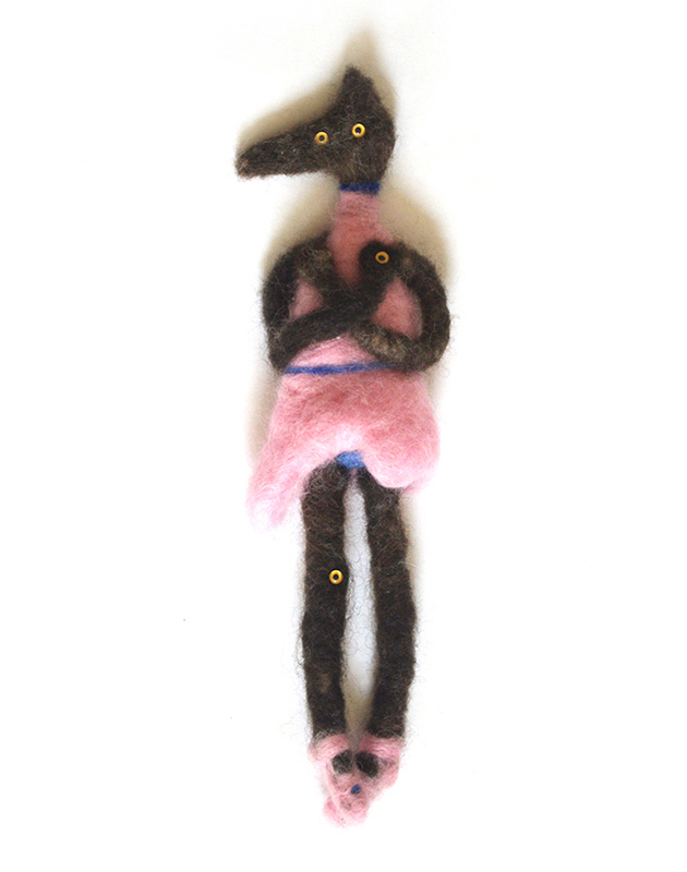 """5: """"Ballerina Funeral"""". Needlefelted Wool. 7 x 2. March 2015. Caty Bartholomew. Toy Concept Development & Design. A little ballerina who didn't make it, but she still looks great."""