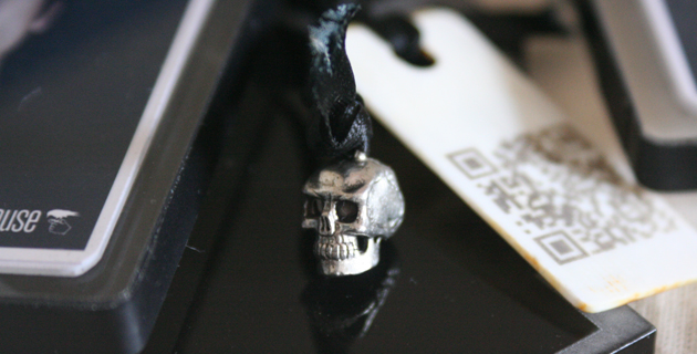Skull Charm On QR Code Bookmark