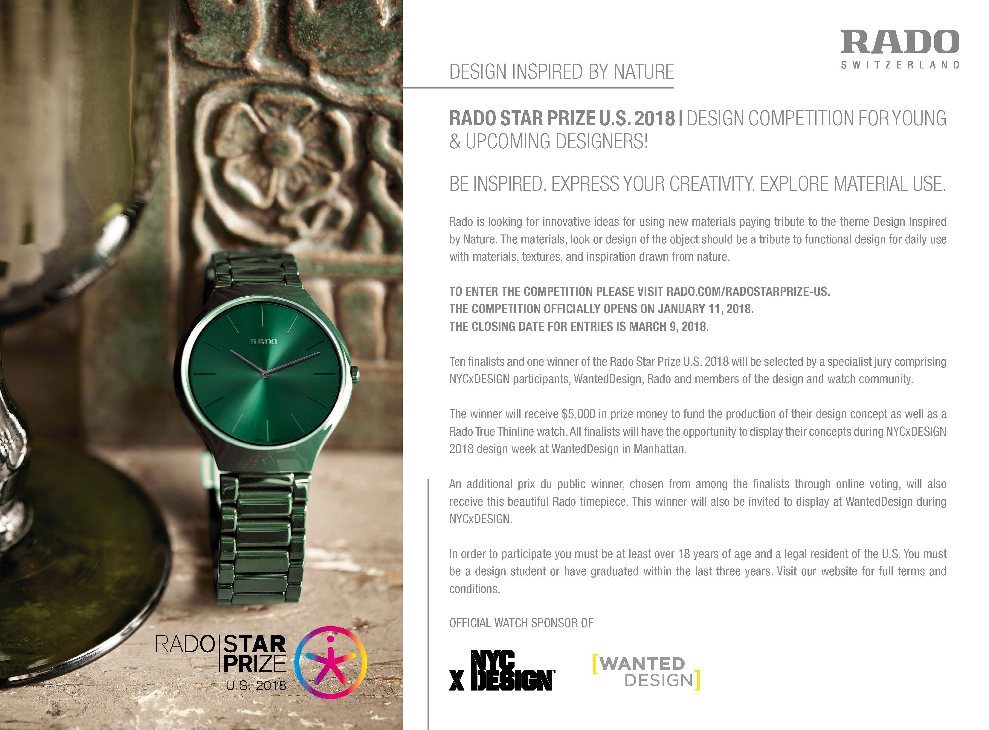 call for submissions nycxdesign awards nyc design For 2018, NYCxDESIGN is pleased to have Swiss watchmaker, Rado, return as  the Official Watch Sponsor of NYCxDESIGN. As part of its participation, ...