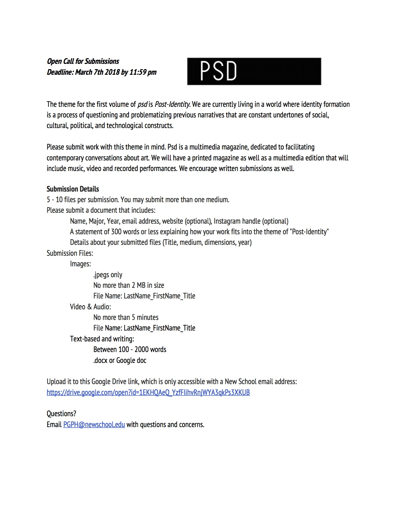 psd Magazine Open Call for Submissions, Deadline 3/7 | Art, Media