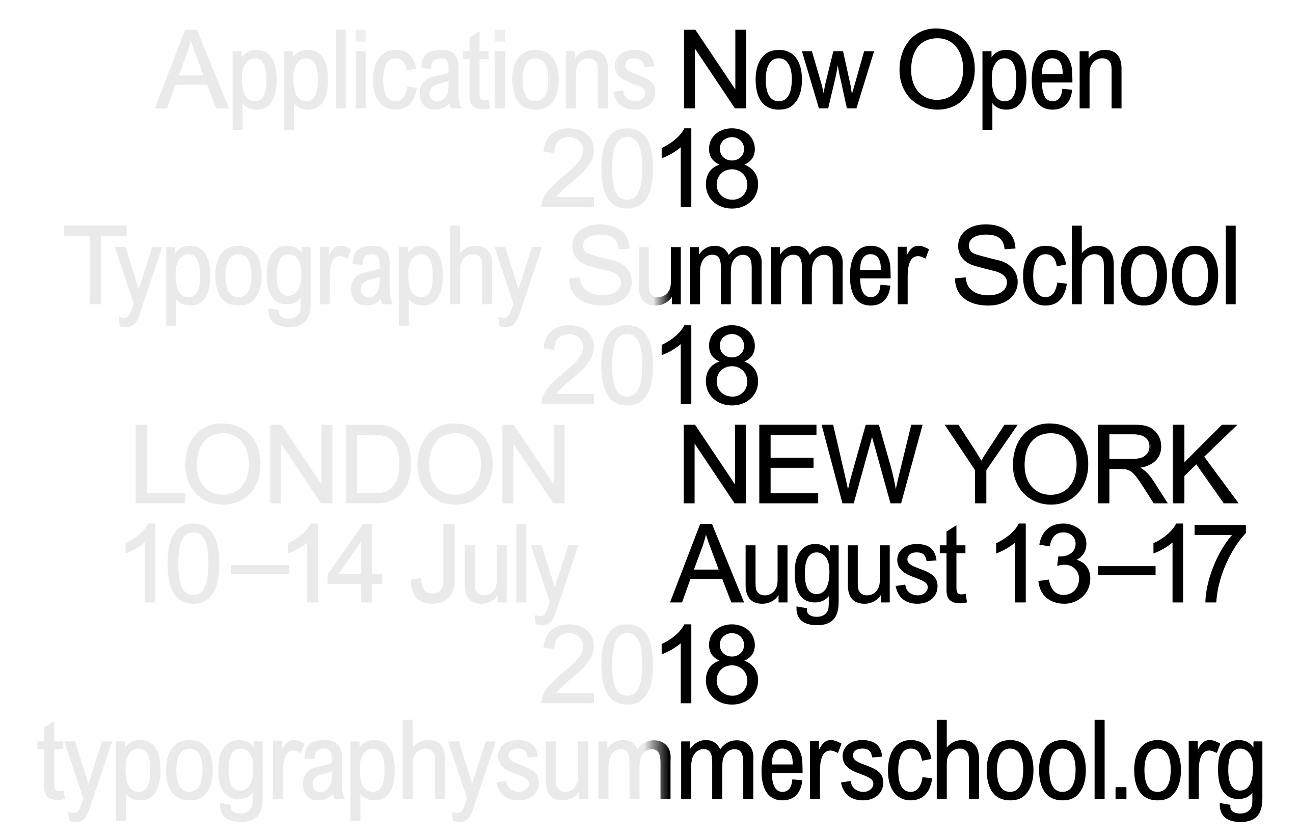 Typography Summer School NYC & London: Applications Now Open