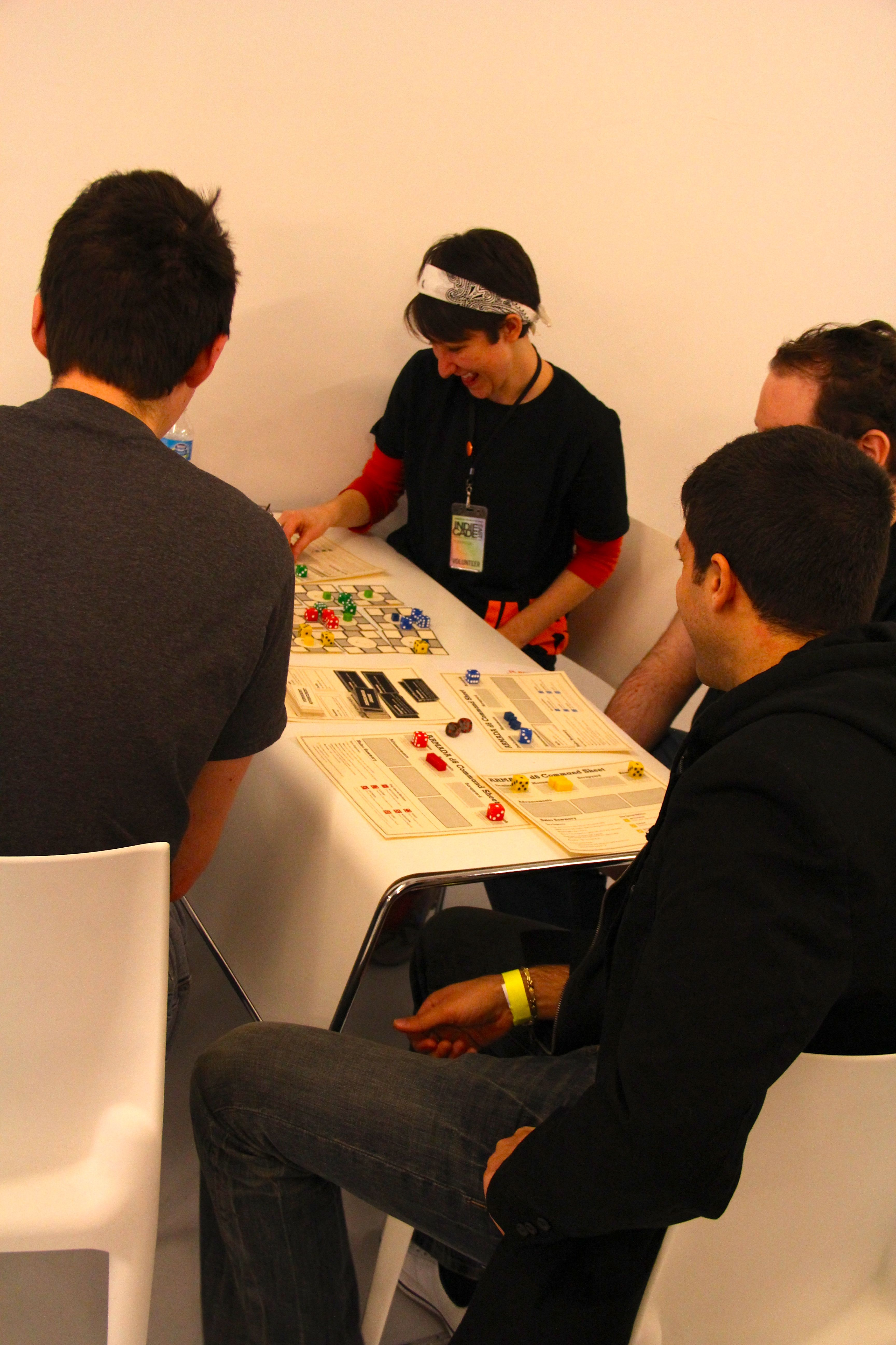 A game of Armada D6 (board game developed by John Sharp and Eric Zimmerman) in action at IndieCade East!