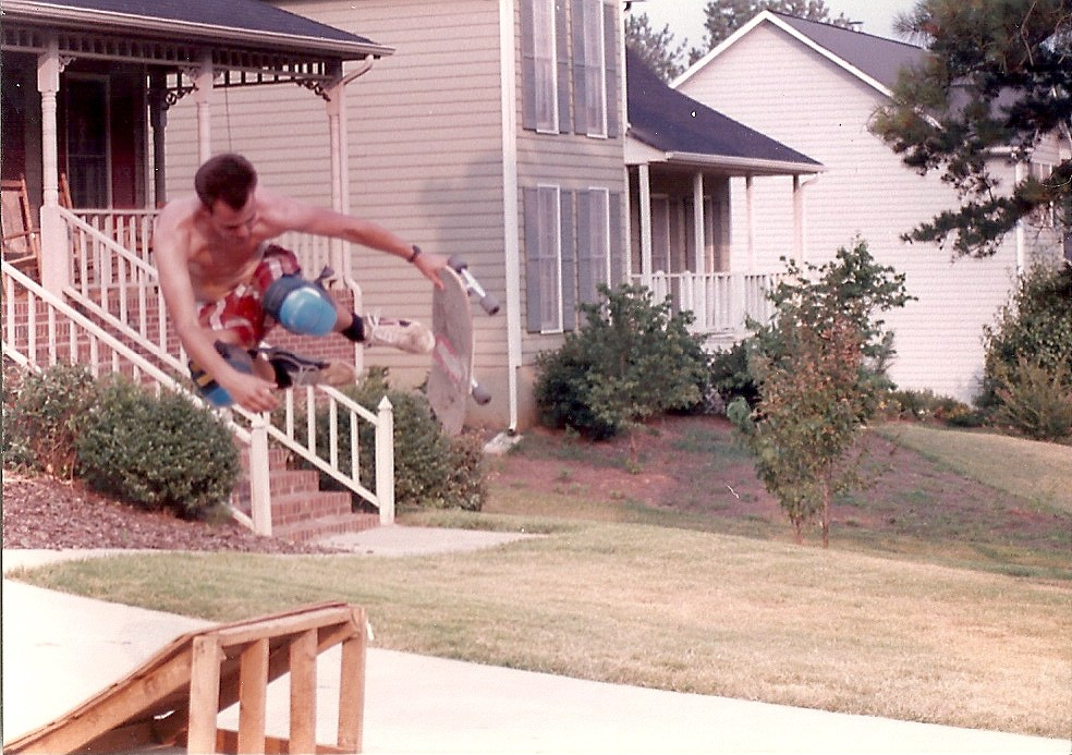 John Sharpe circa 1990-something, getting air in his parents' driveway.