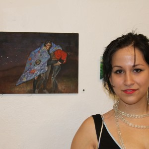 "Elina Ansary (Pratt) with her piece ""Under the Sea."" / Photo by Sara Sugar for The Local"