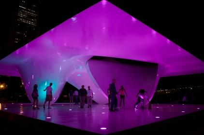 Interactive Lighting Program developed by Studio Daniel Sauter for the Burnham Centennial Pavilion