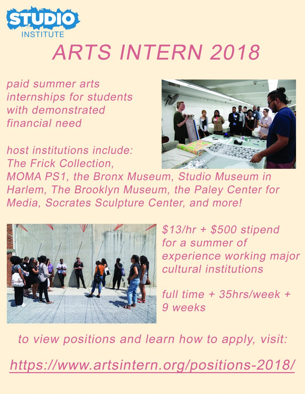 arts intern nyc seeking students for summer internship opportunities  the new museum  the frick